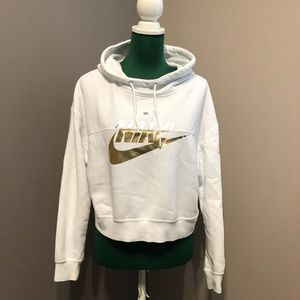 Nike White Cropped Hoodie | Small | Used